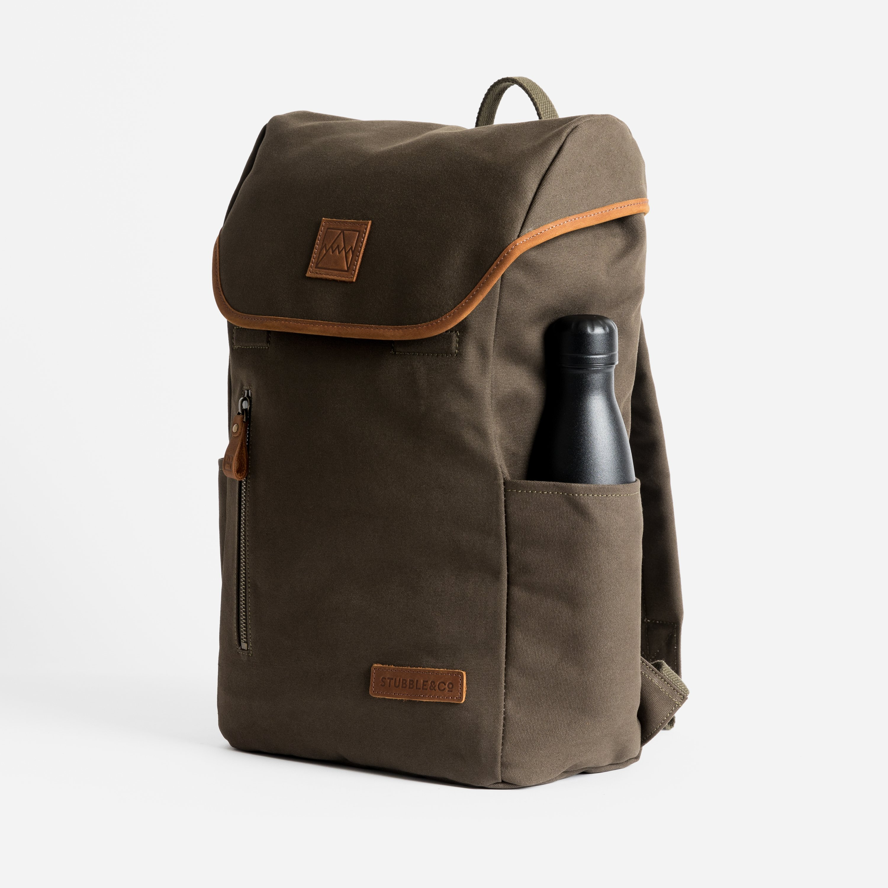 """The Backpack. Premium Waterproofed Canvas and Leather. 15"""" Laptop Pocket., Olive"""