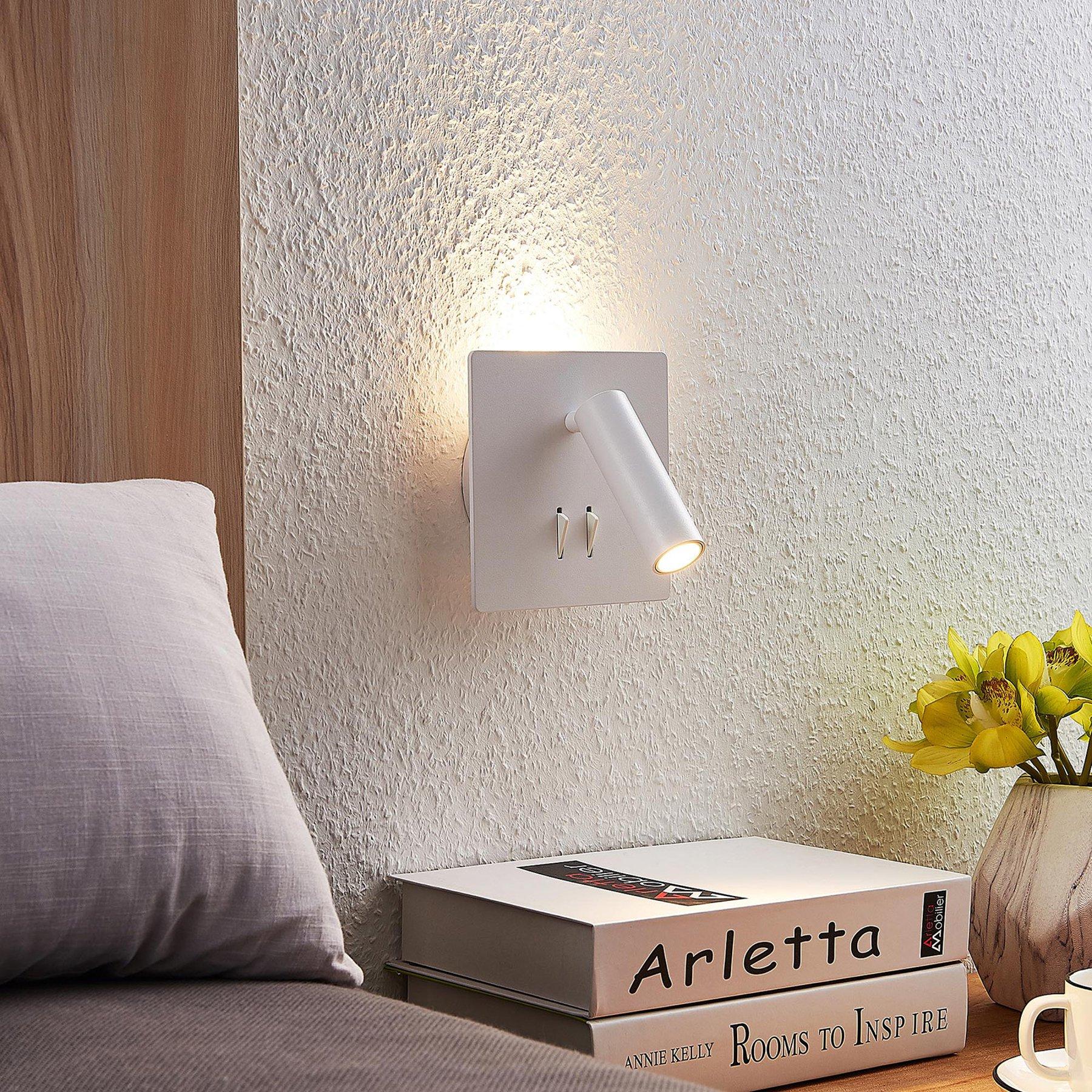 Lucande Magya LED-vegglampe hvit 2 lysk.kvadratisk