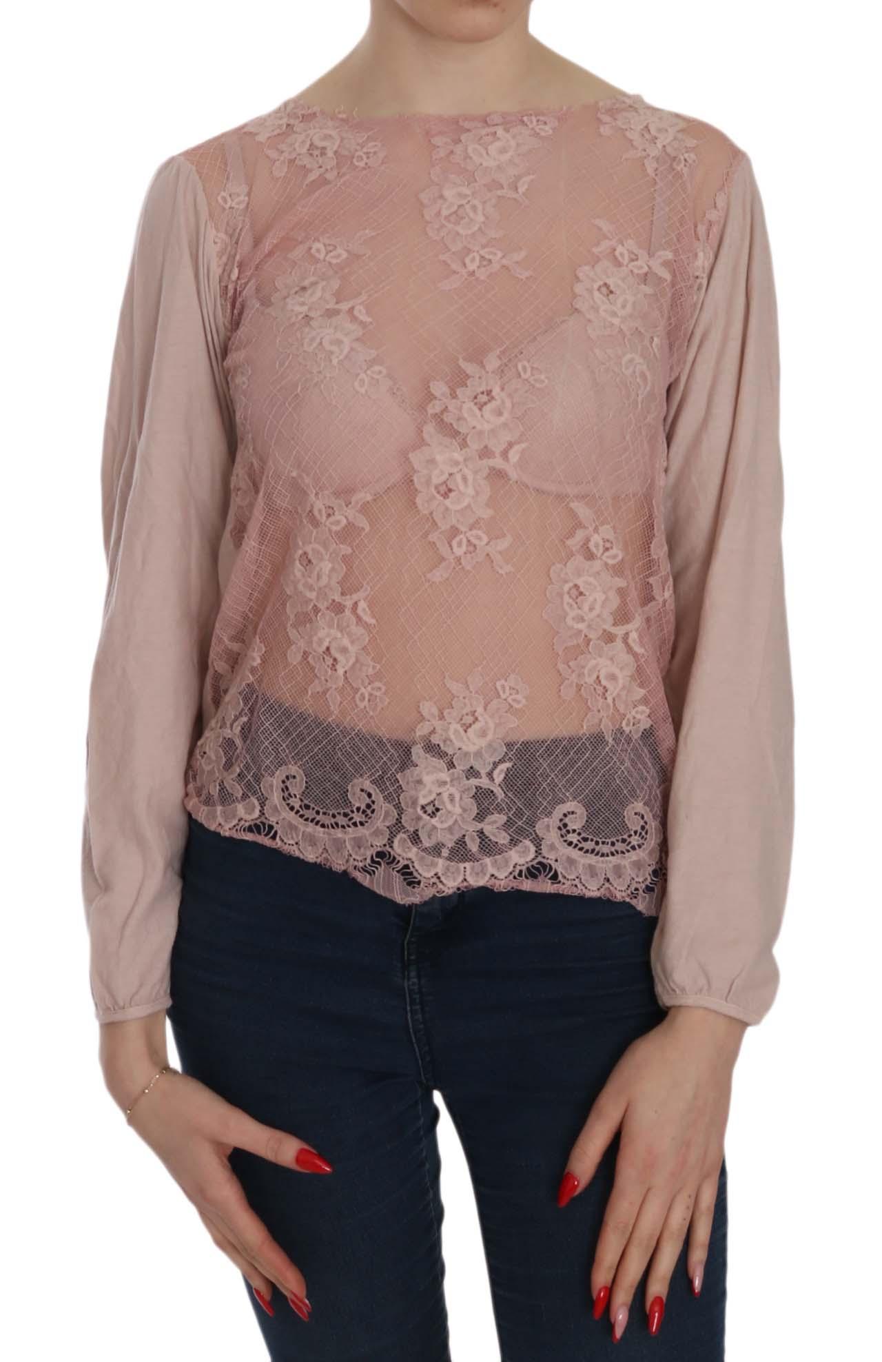 PINK MEMORIES Women's Lace See Through LS Top Pink TSH3905 - IT42|M