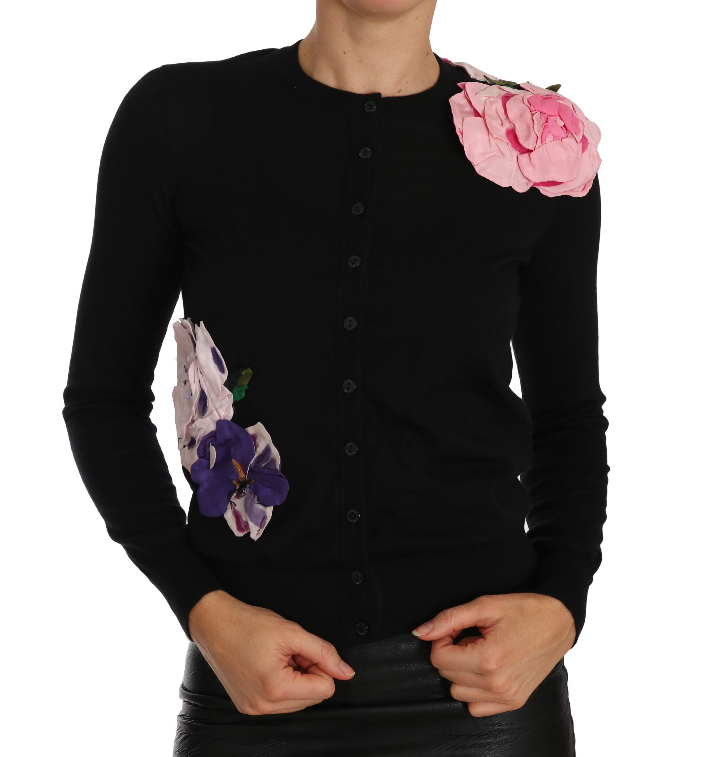Dolce & Gabbana Women's Cashmere Floral Cardigan Black TSH2305 - IT36 XXS