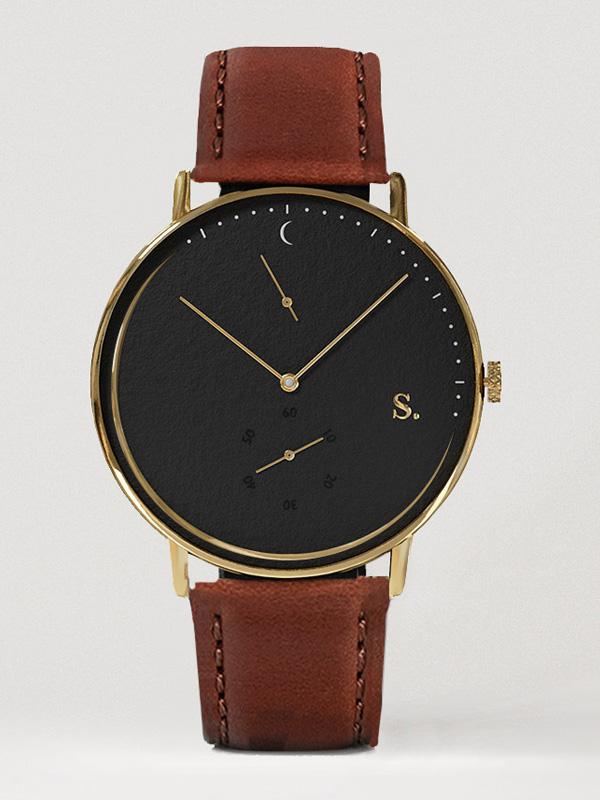 Herrklocka Sandell Night Plus Brown Leather SSB40-BRL