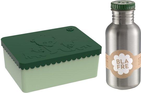 Blafre Matboks Bjørn 3 Rom & Stålflaske 500 ml, Mørkgrønn