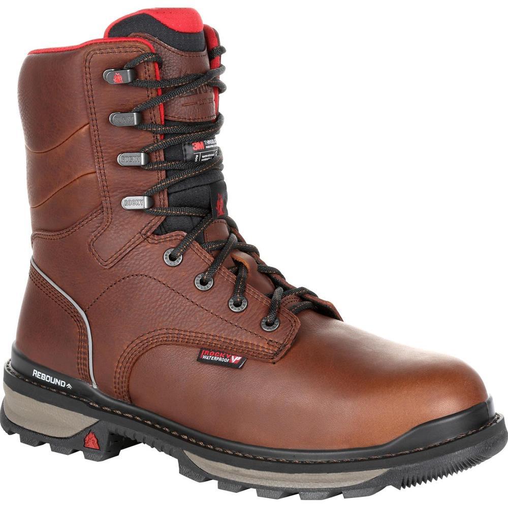 Rocky Size: 8.5 Medium Mens Dark Brown Waterproof Work Boots Rubber | RKK0275 M 085