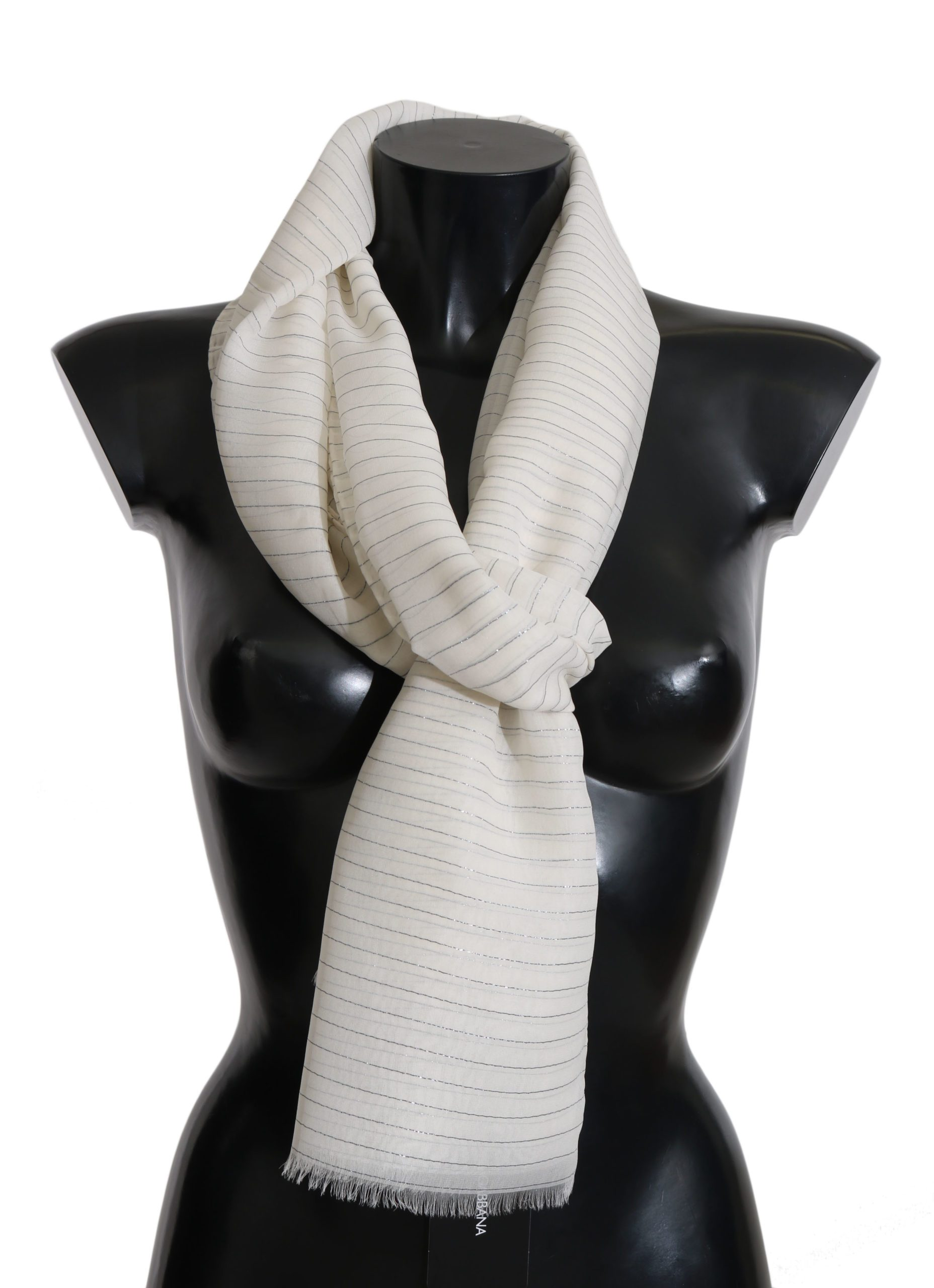 Dolce & Gabbana Women's Print 100% Silk Shawl Wrap Scarf White MS5001