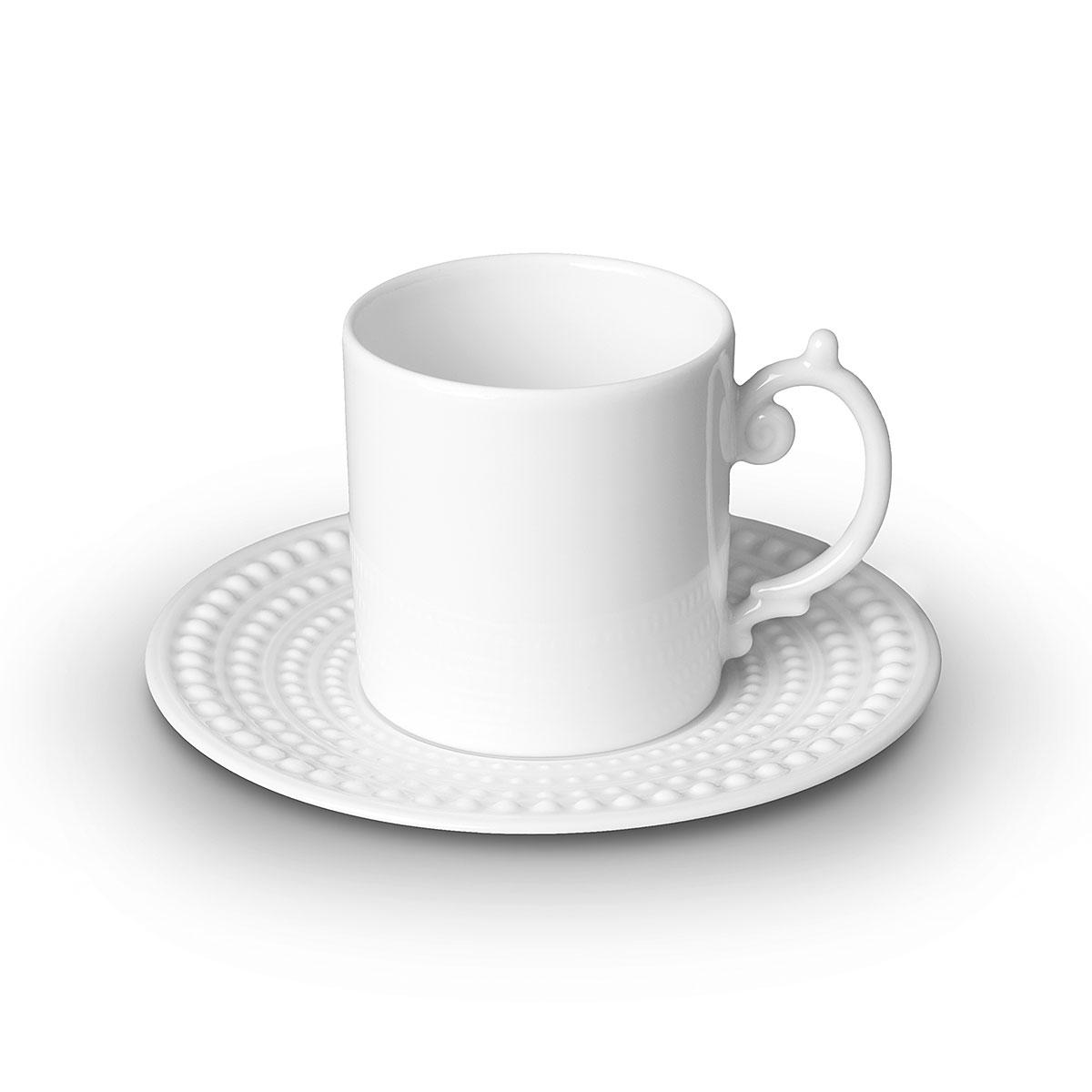L'Objet I Perlée Espresso Cup + Saucer White