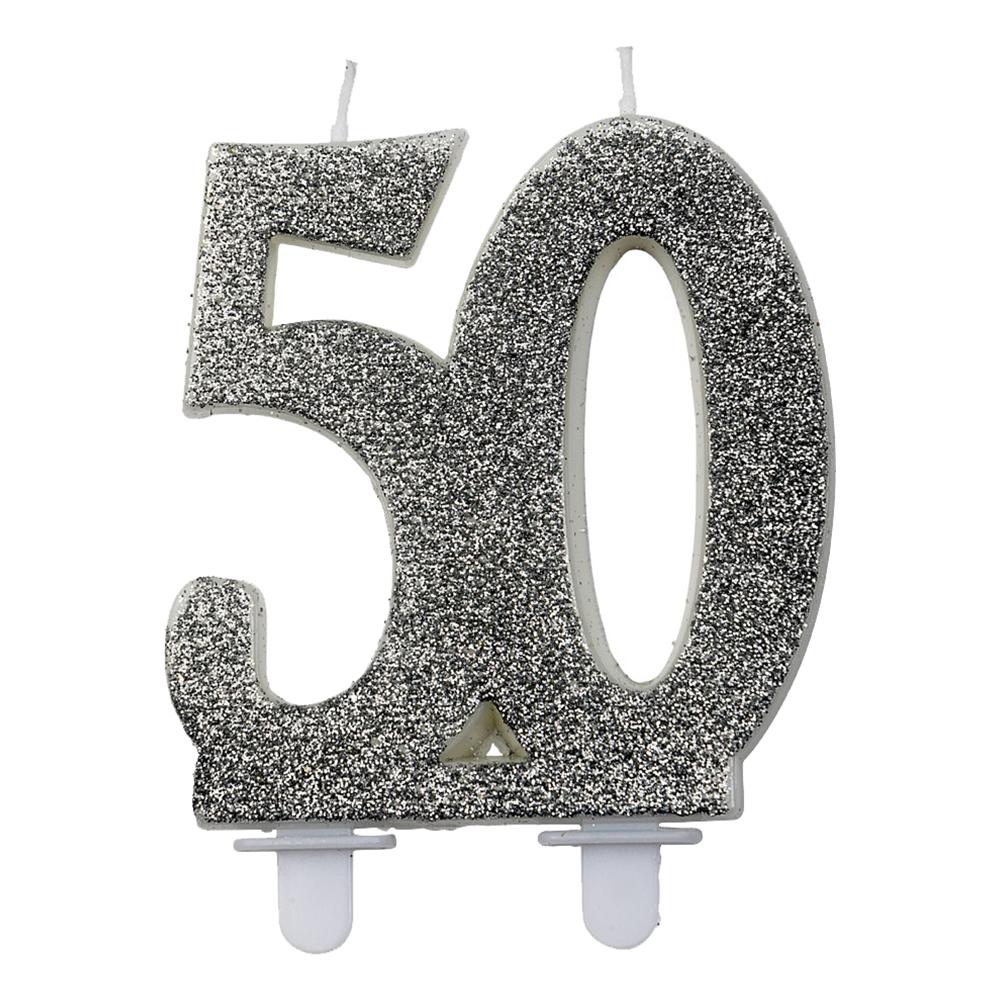 Sifferljus Glitter Silver - Siffra 50