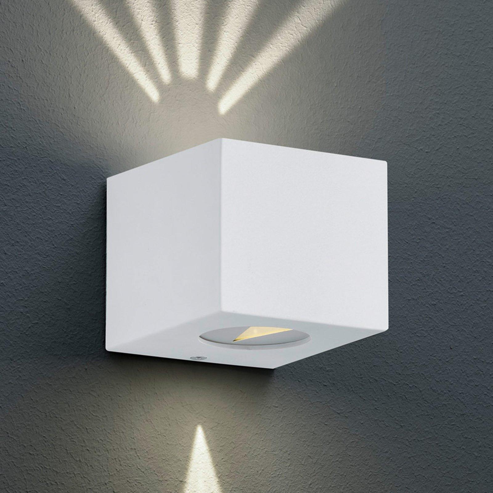 Firkantet, utendørs LED-vegglampe Cordoba, hvit