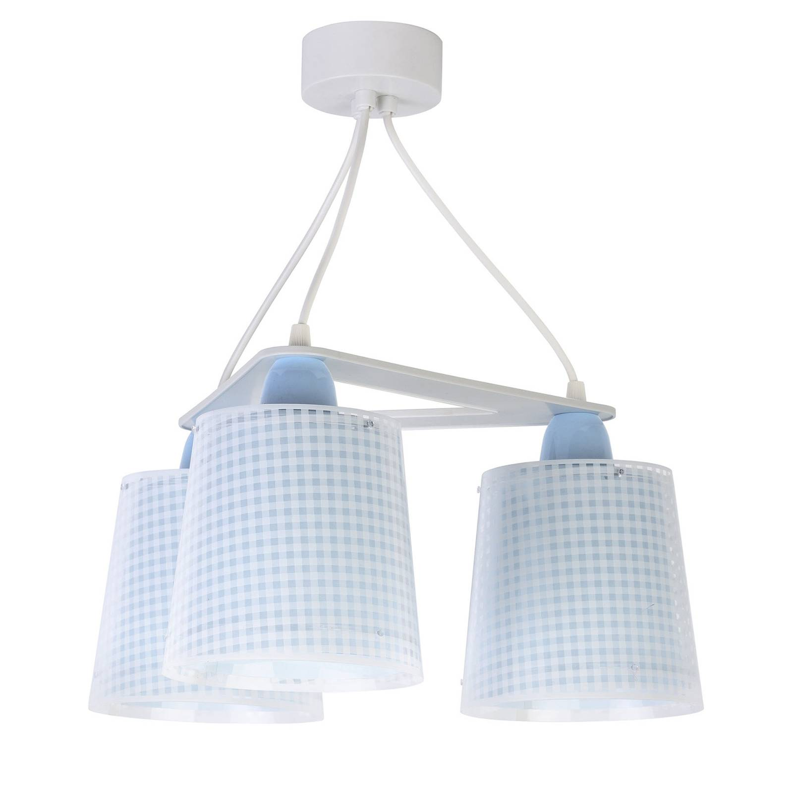 Lastenhuoneen riippuvalo Vichy, 3-lamp, sininen