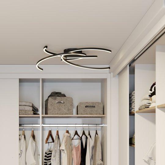 Lindby Katris LED-kattovalaisin, 73 cm, musta