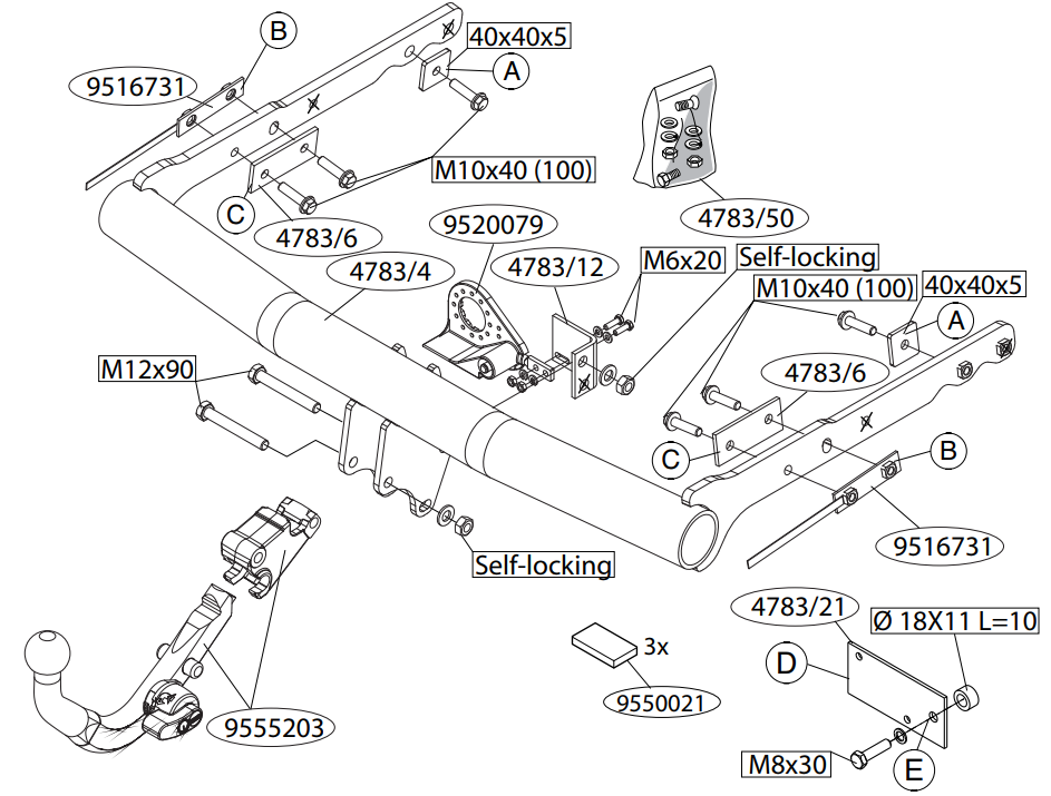 Vetokoukku BRINK 478300 Ford Galaxy, S-Max '06-15