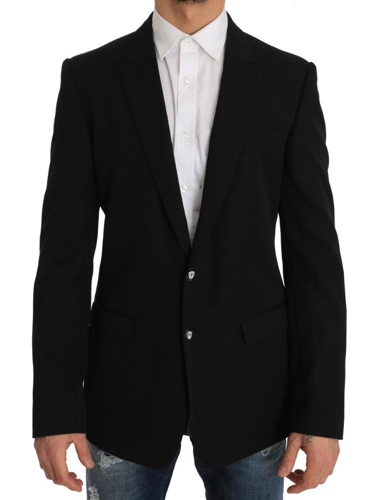 Dolce & Gabbana Men's Wool MARTINI Coat of Arms Blazer Black JKT1219 - IT50   L