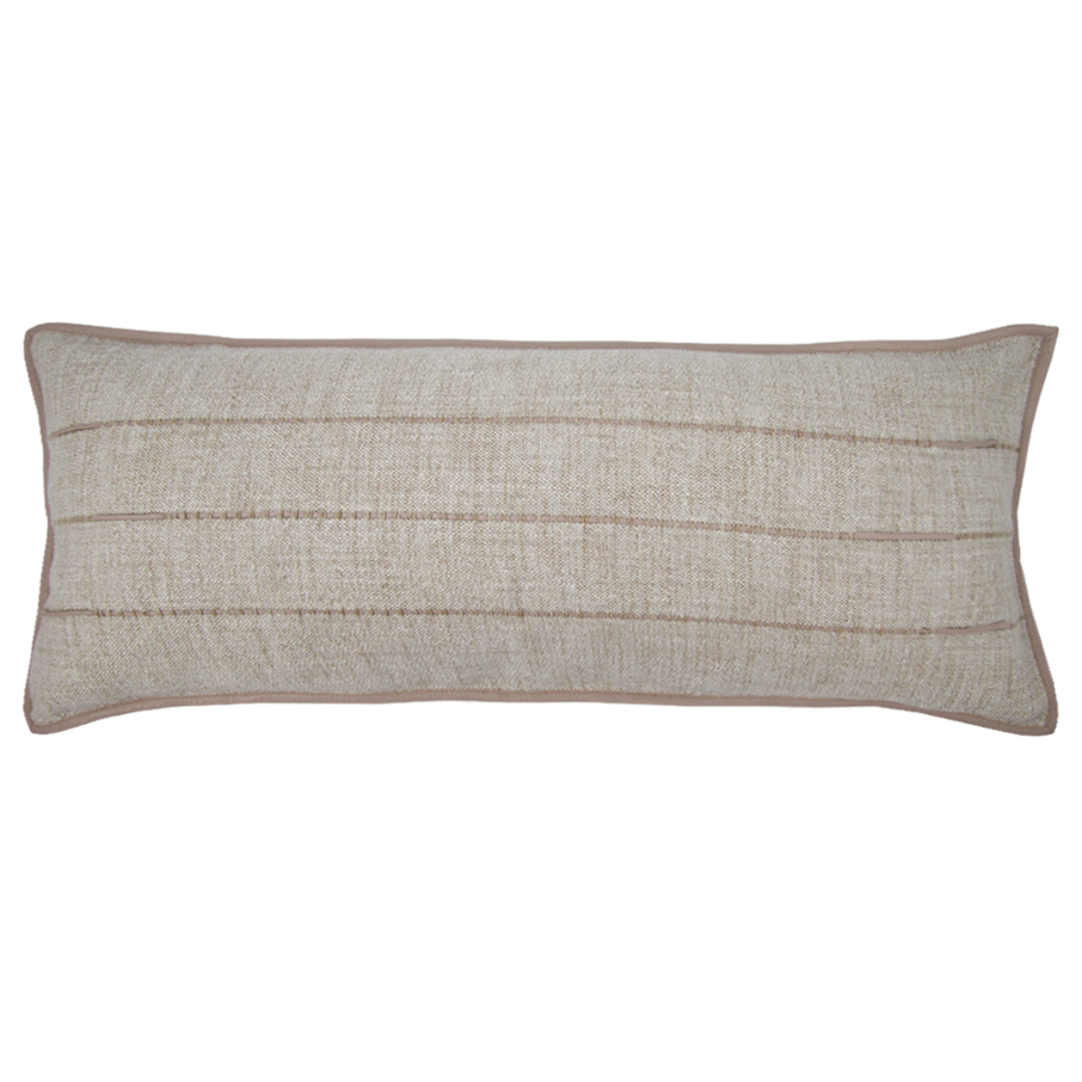 de Le Cuona | Hoxton Sofa Cushion With Leather Detail Flax