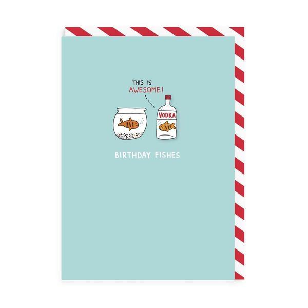 Birthday Vodka Fishes Enamel Pin Card