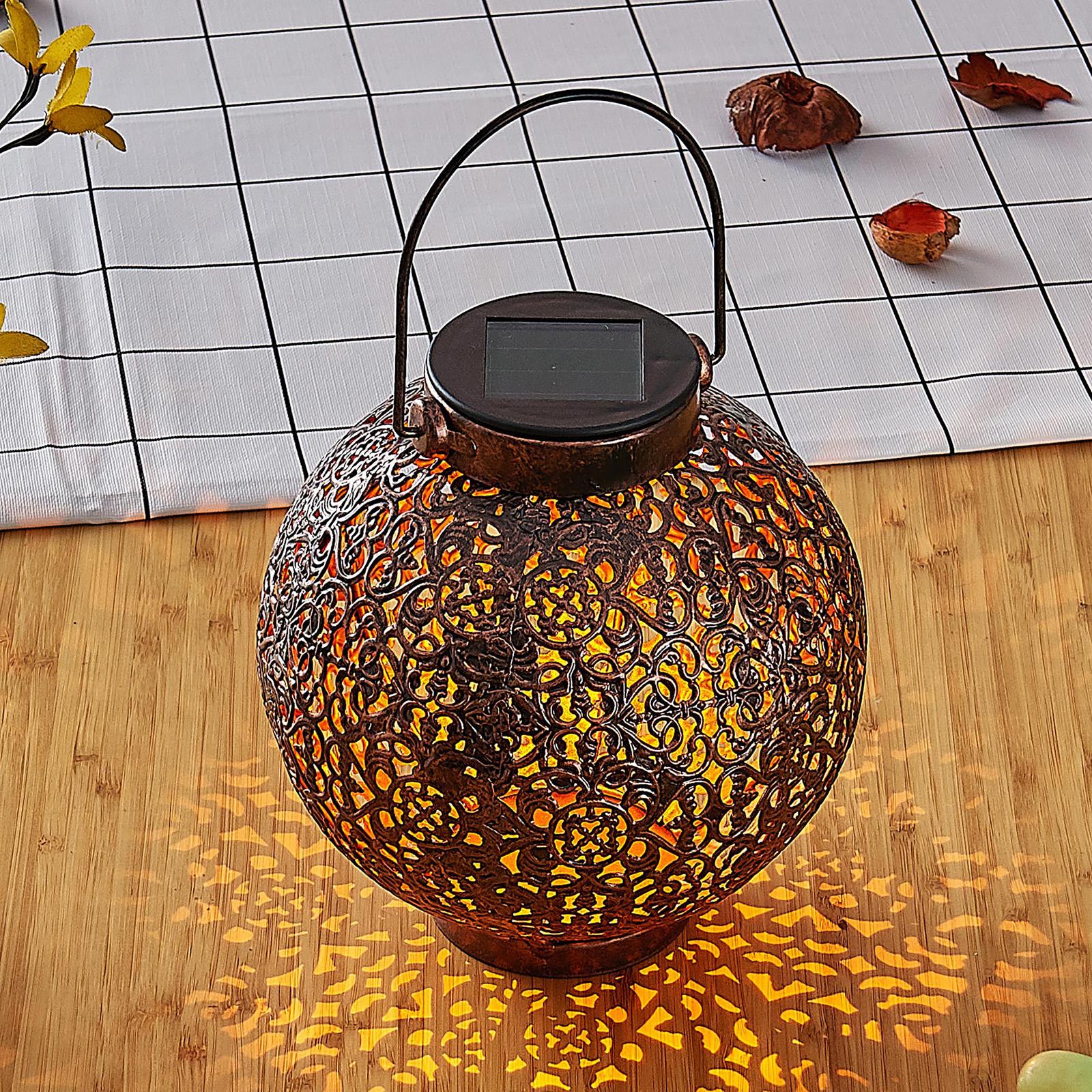 Aurinkok. LED-lyhty Dunjaris, ornamentti kupari