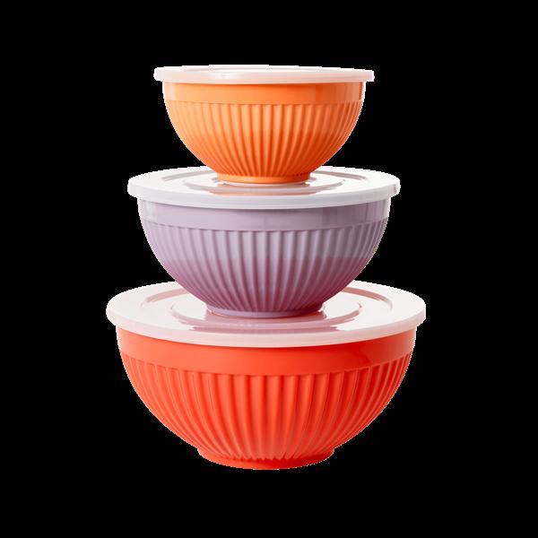 Rice - Melamine Bowls w. Lid 3 Pcs - Orange, Lavender & Apricot
