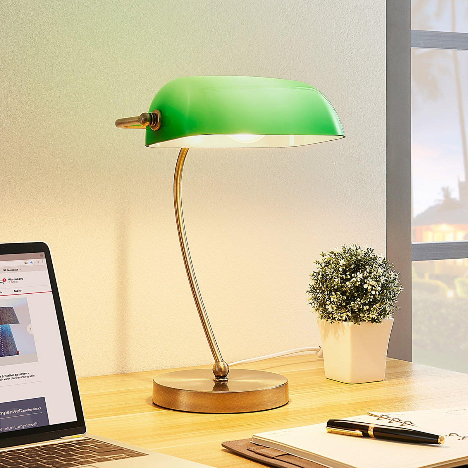 Selea - bankerlampe med grønn skjerm