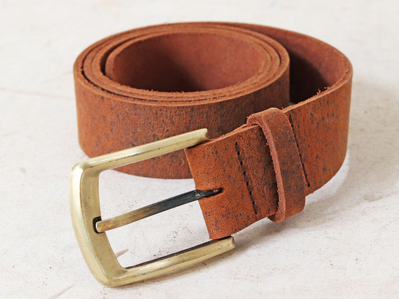 Brown Leather Belt - 33-39 Inches Medium