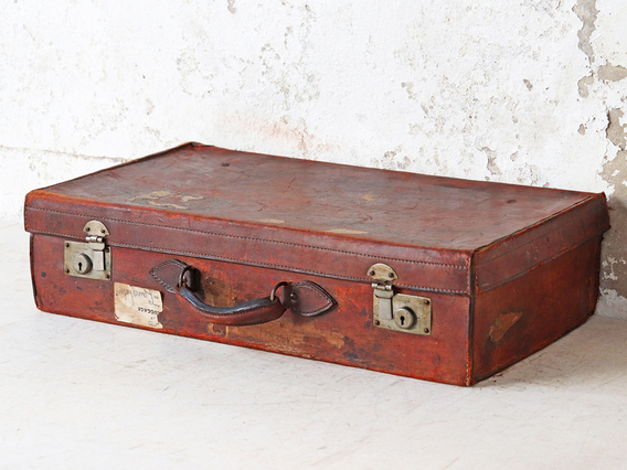 Vintage Brown Leather Suitcase Brown
