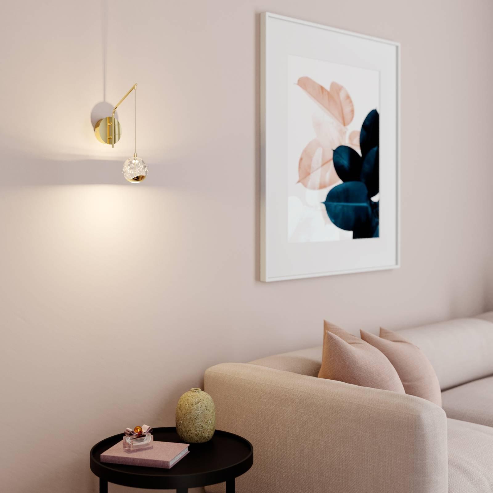 LED-vegglampe Hayley med hengende kuppel, gull