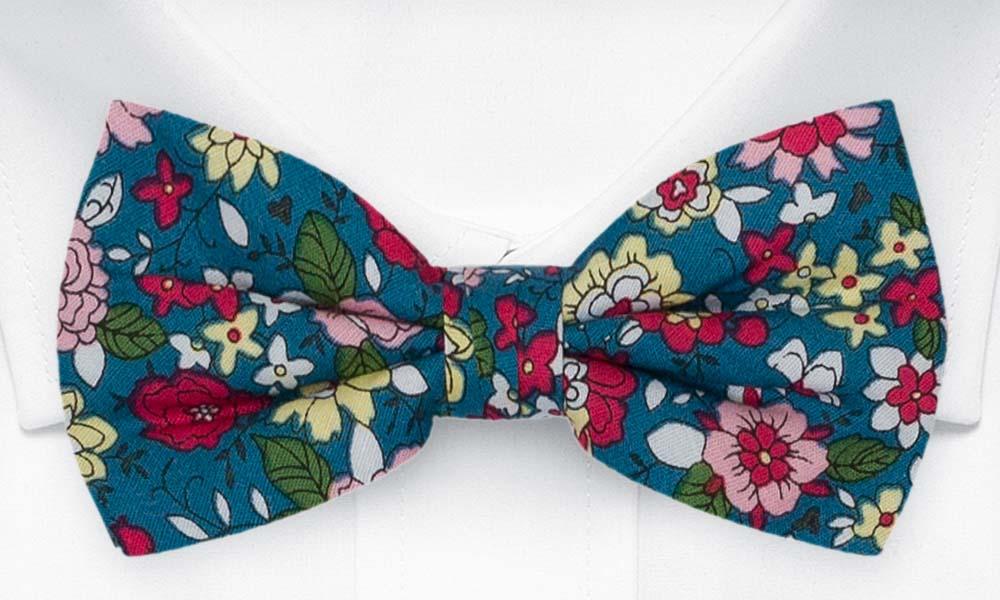 Bomull Sløyfer Knyttede, Blomster i rødt, rosa, gult og mørk Bondi Blue