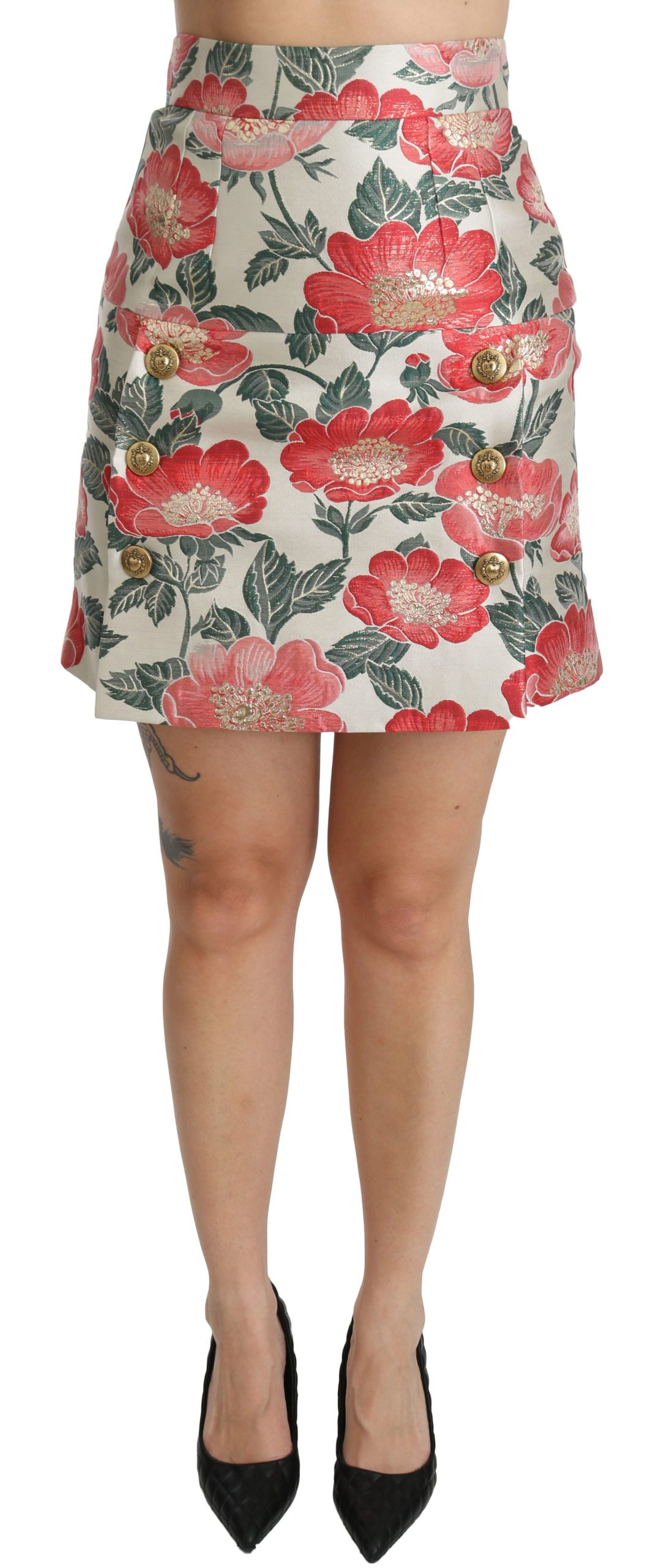 Dolce & Gabbana Women's Floral High Waist Mini Skirt White SKI1064 - IT36 | XS