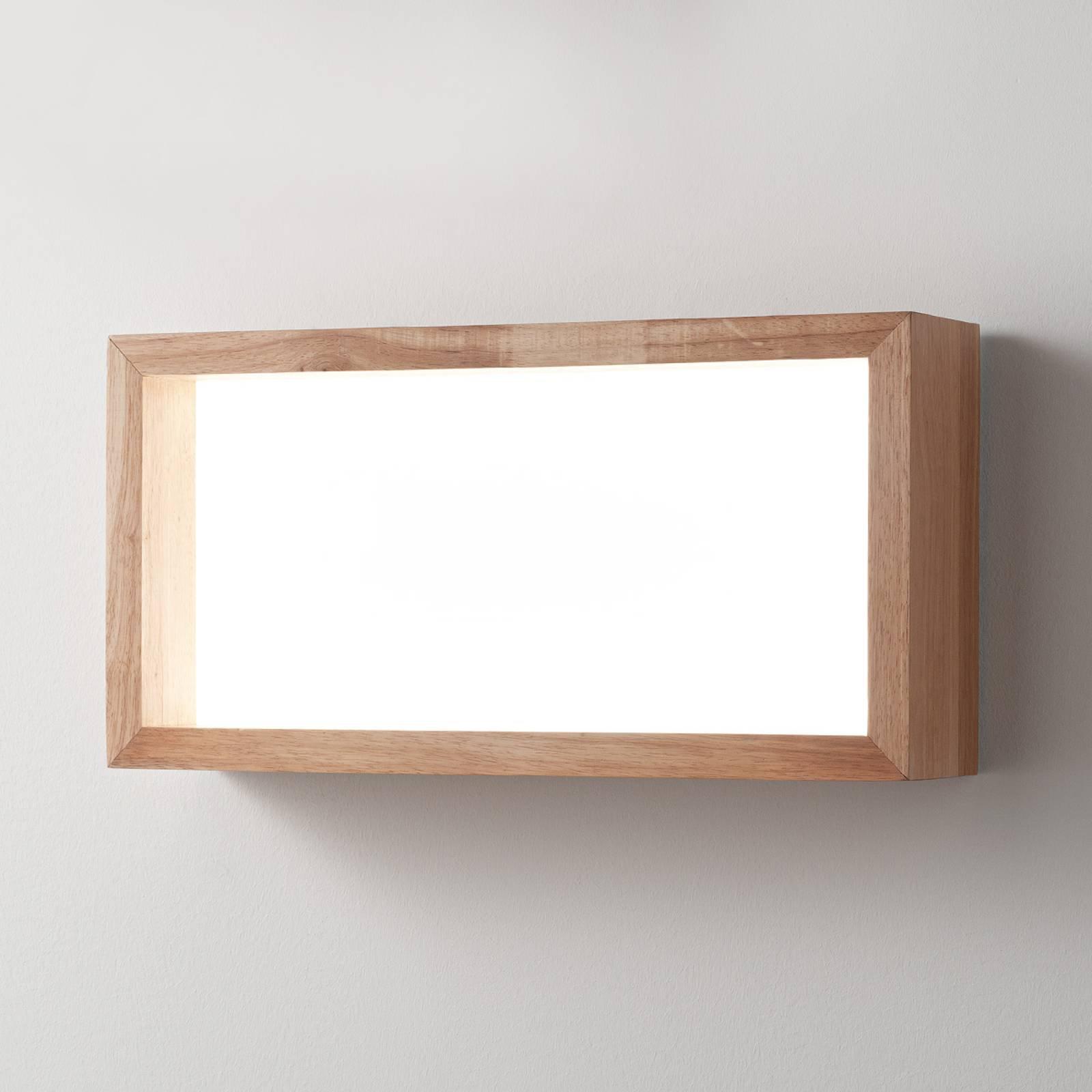 LED-vegglampe Window, 60 x 30 cm, eik