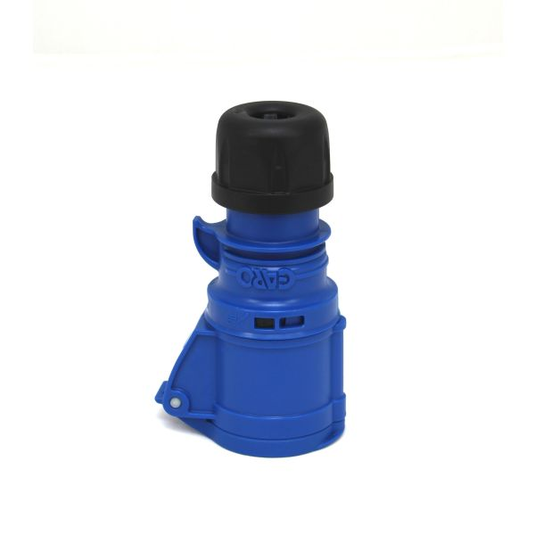 Garo S 332-9 S Skjøtekontakt IP44, 4-polet, 32 A, låseanordning 230 V, blå, 9 h