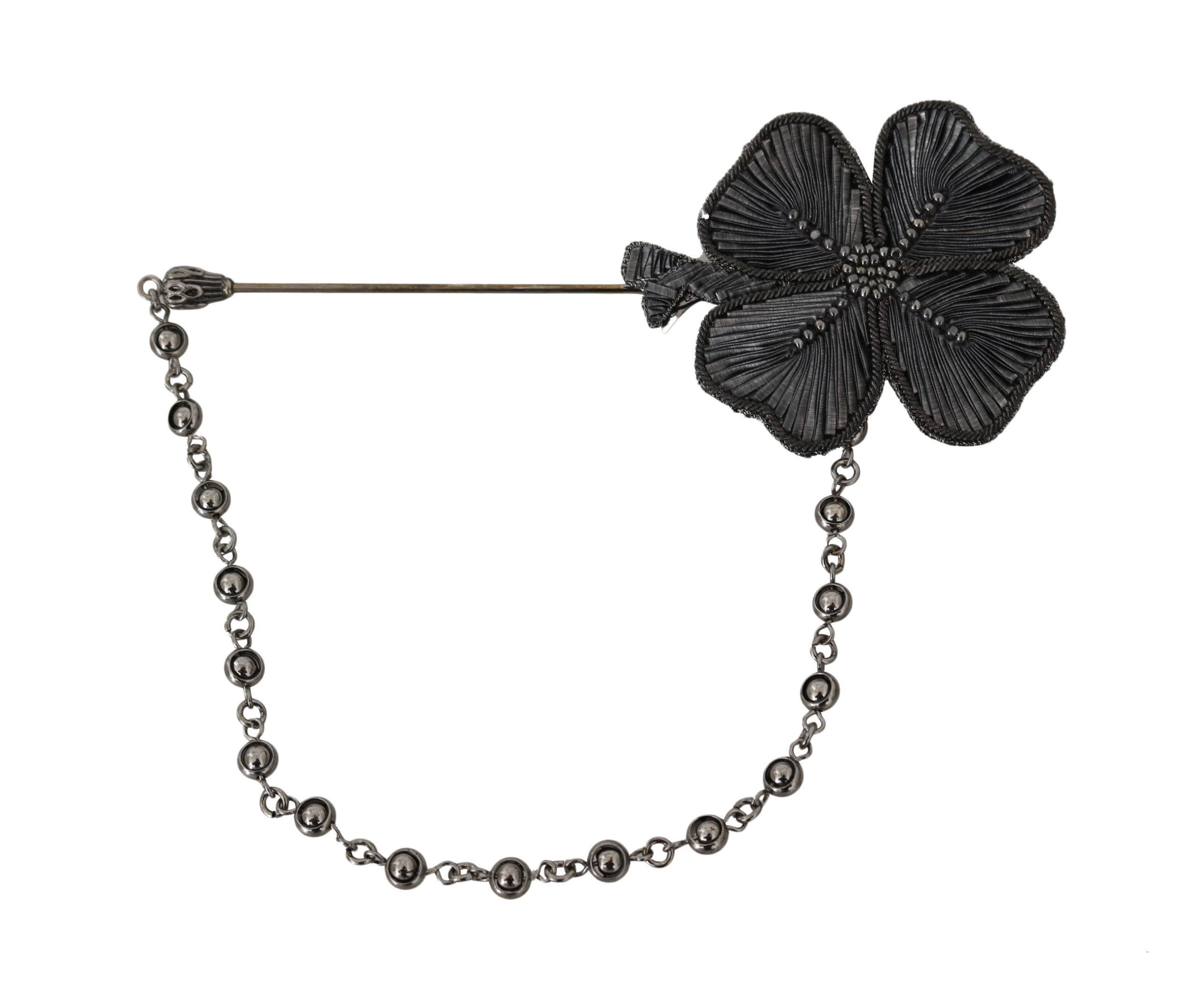 Dolce & Gabbana Women's Lapel Pin Copper Crystal Flower Brooch Gold Black SMY5069
