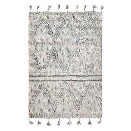 Håndvevd Ullteppe Hvit/Svart 180x280 cm