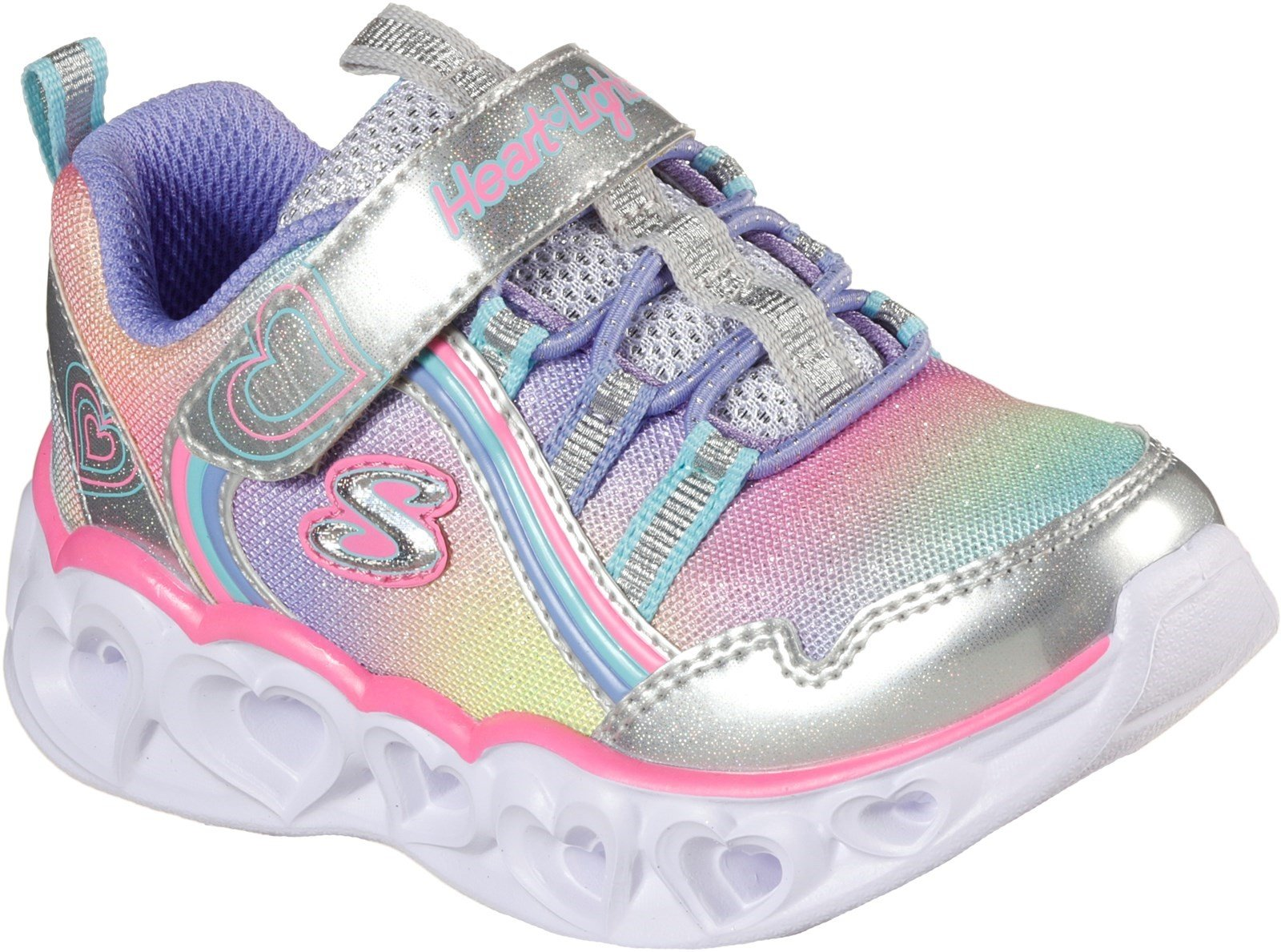 Skechers Kid's Heart Lights Rainbow Lux Trainer Various Colours 32081 - Silver/Multicoloured 4