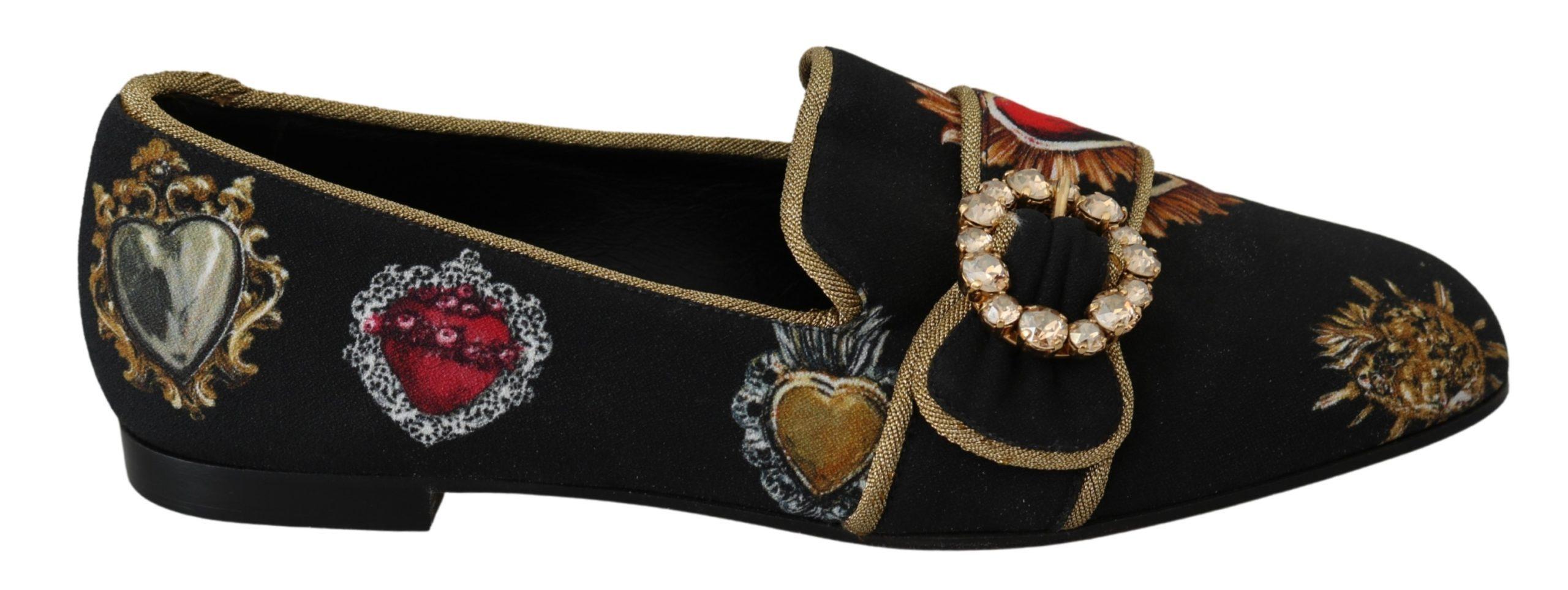 Dolce & Gabbana Women's Amore Heart Loafers Black LA6591 - EU35.5/US5
