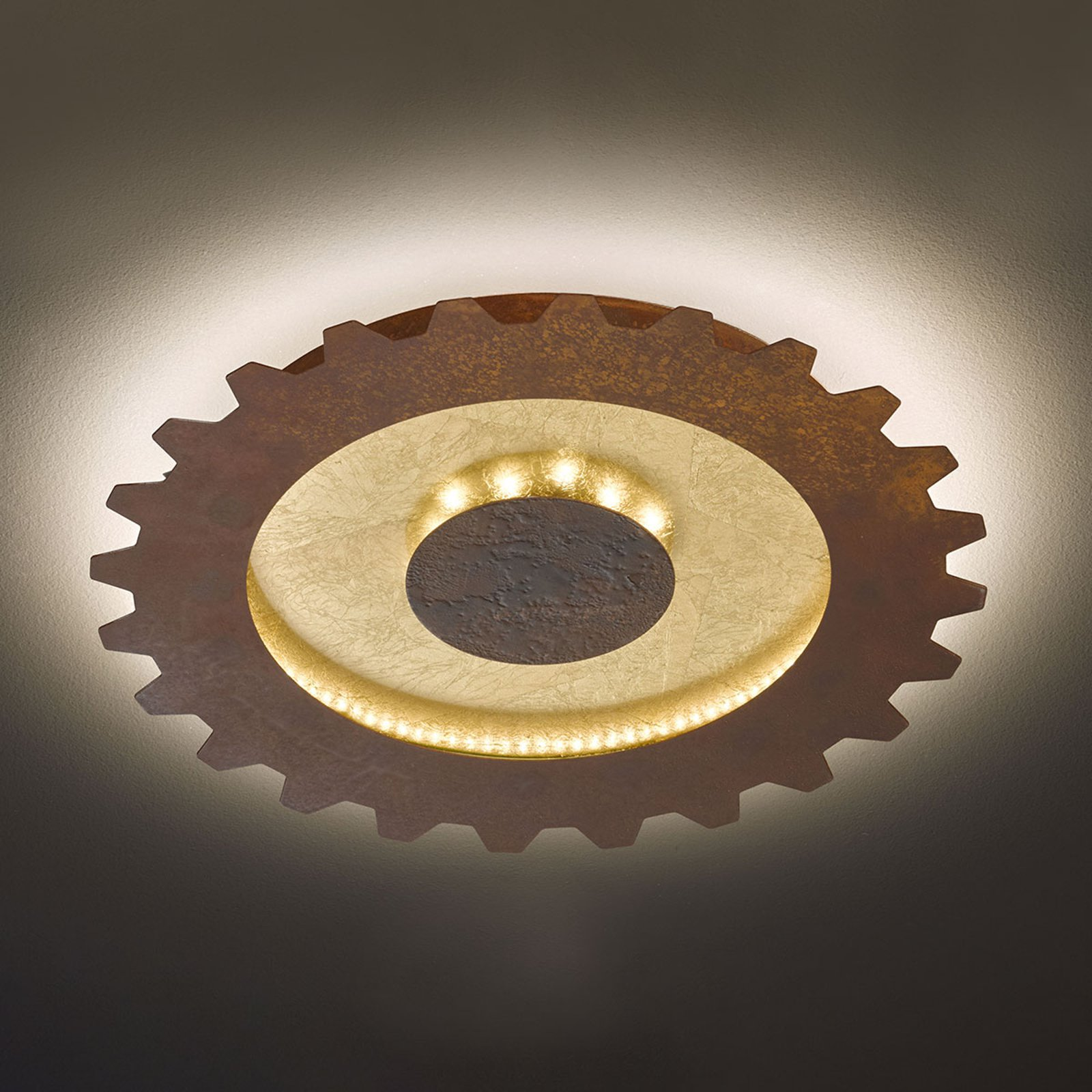 LED-taklampe Leif i tannhjulstil, Ø 40 cm