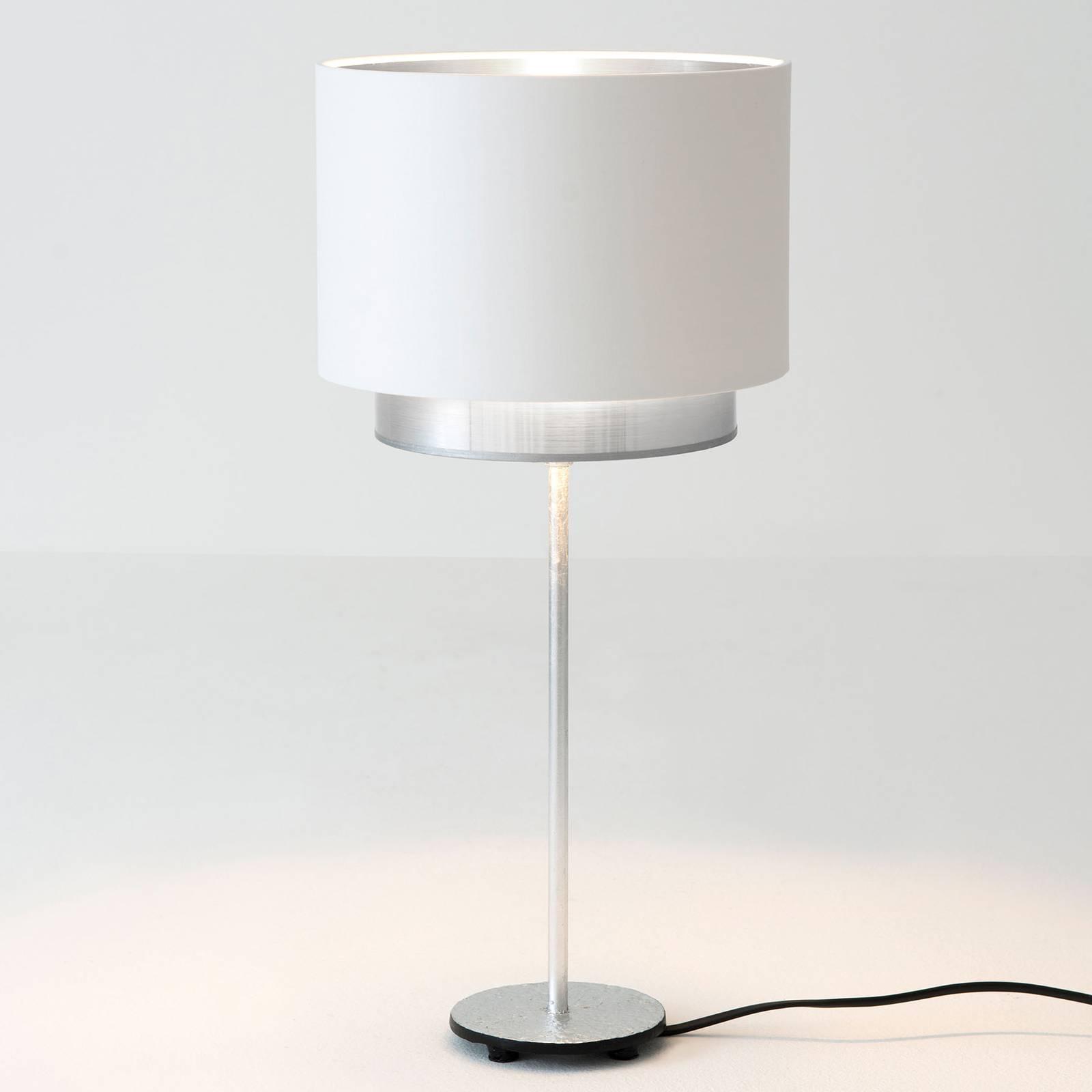 Pöytälamppu Mattia, Perla-silkki, valkoinen/hopea