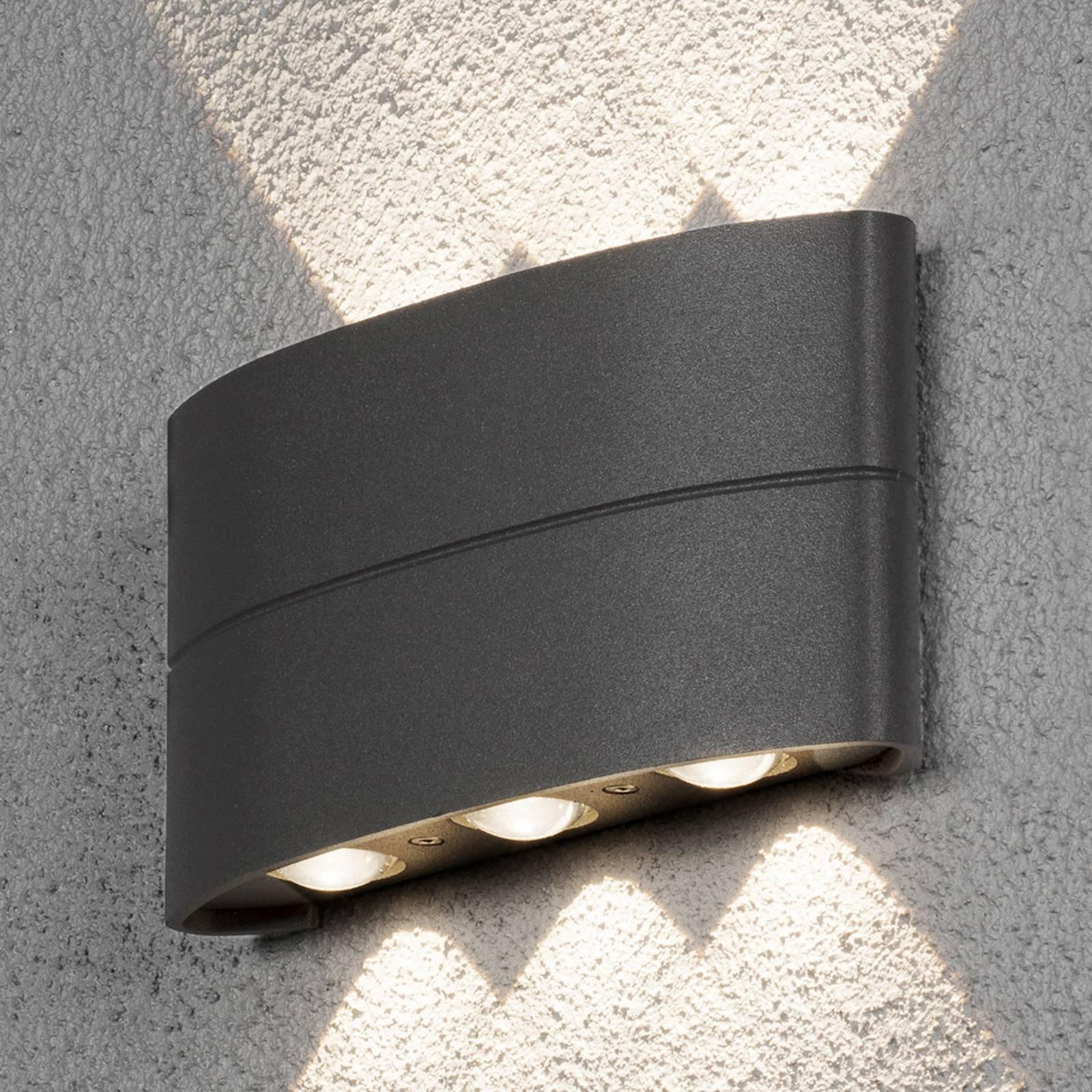 Utendørs LED-vegglampe, antrasitt, 6 lyskilder
