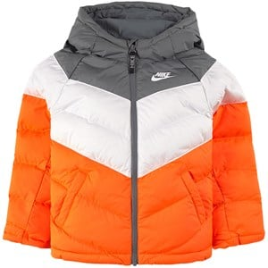 NIKE Black, Grey and Chevron Swoosh Logo Vadderad Jacka Orange XS (6-8 years)