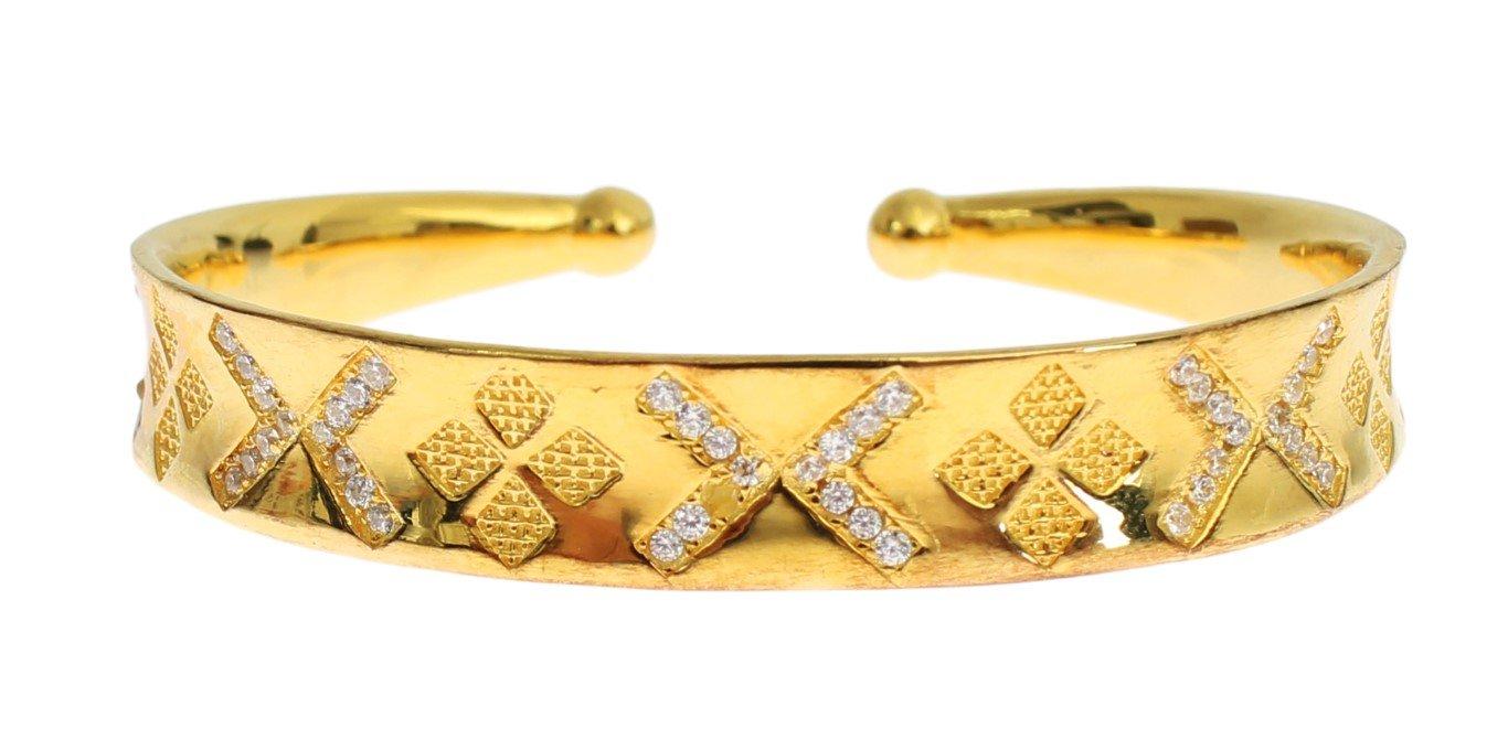 Nialaya Women's CZ Gold Sterling 925 Silver Bangle Bracelet Gold SIG19039 - M