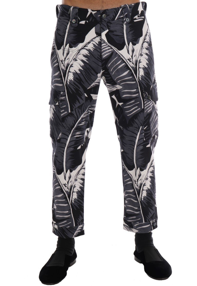Dolce & Gabbana Men's Banana Leaf Cotton Trouser Black PAN60809 - IT48   M