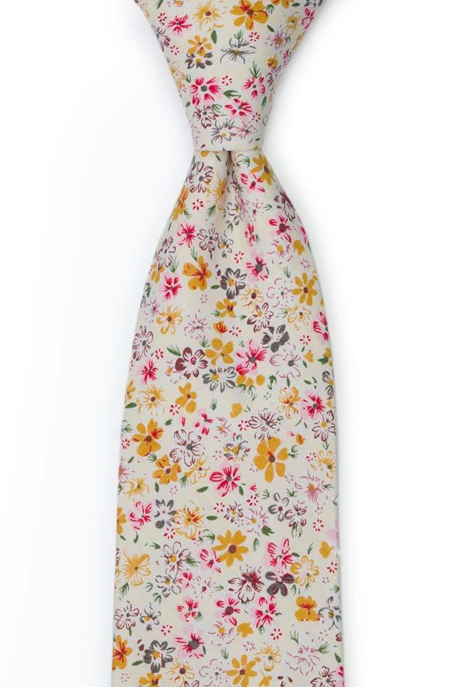 Bomull Slips, Blek gul & varm rosa, honning og hvite blomster, Gull, Blomster