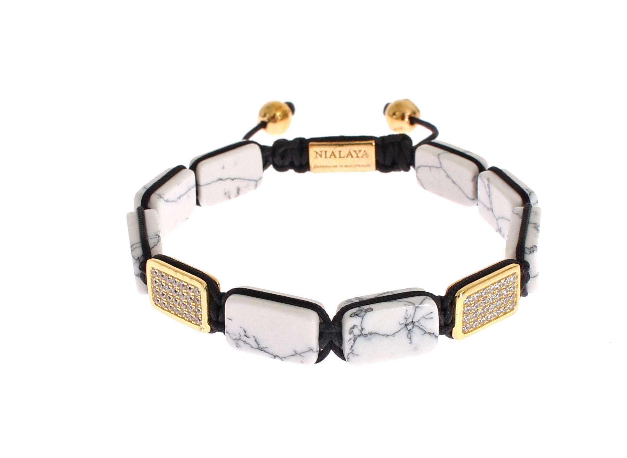 Nialaya Women's CZ Howlite Gold 925 Bracelet White NIA20242 - M