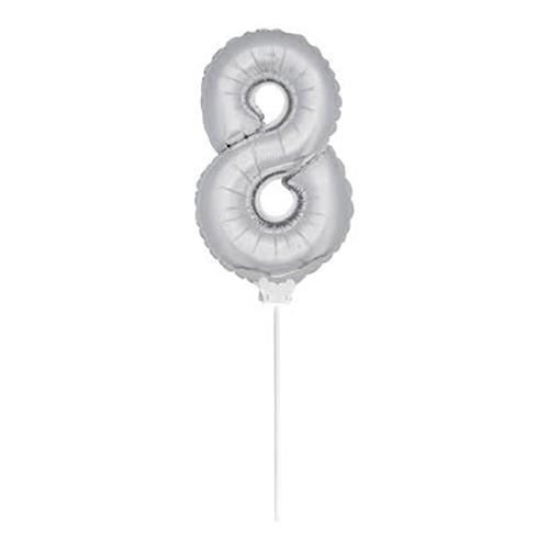 Folieballong på Pinne Silver - Siffra 8