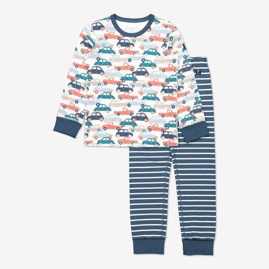 Todelt pyjamas med biltrykk blå
