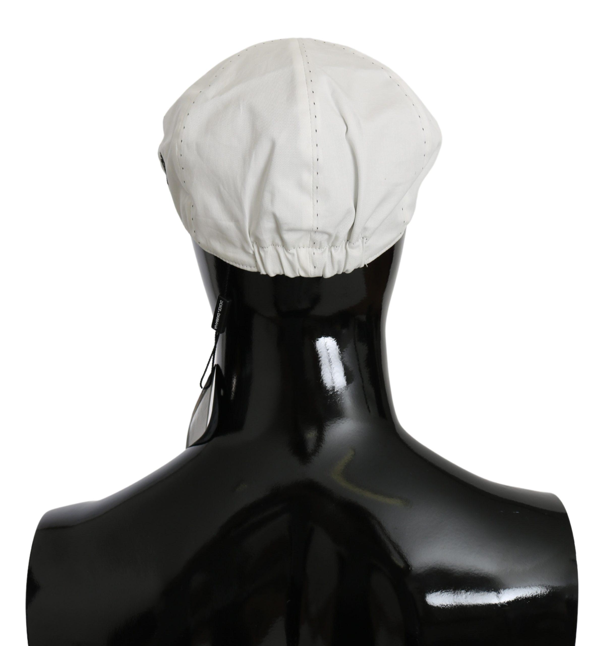 Dolce & Gabbana Men's Cotton Stretch Logo Hat White HAT9034 - 58 cm|M
