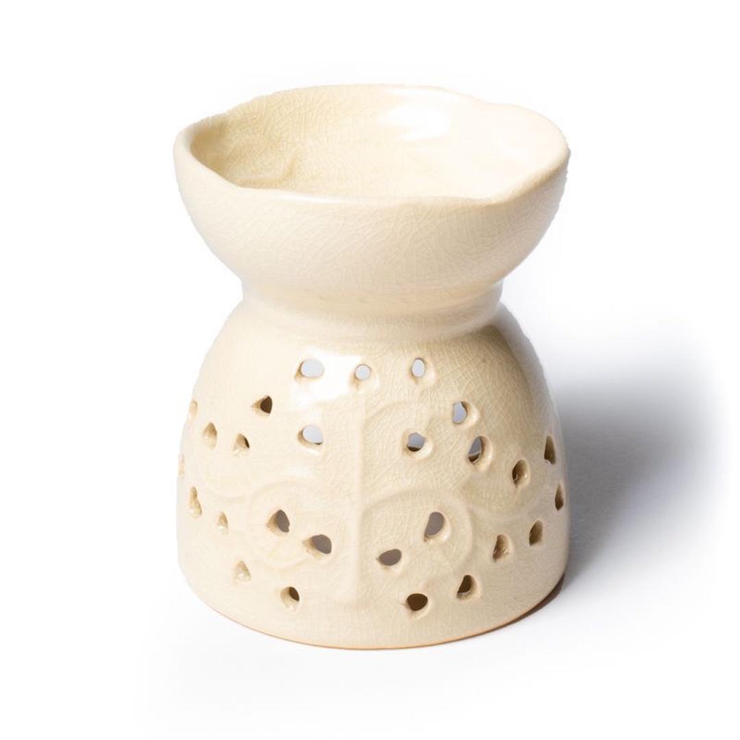 Aromalampa i keramik - Livets träd - Sandfärgad