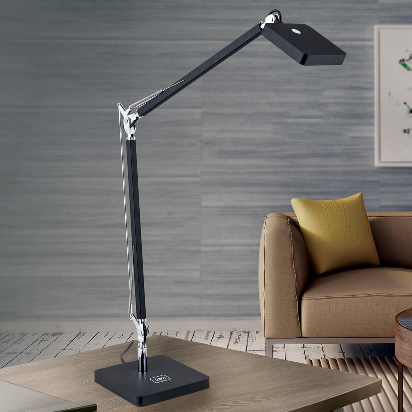 Svart LED-skrivebordslampe Dave med Qi