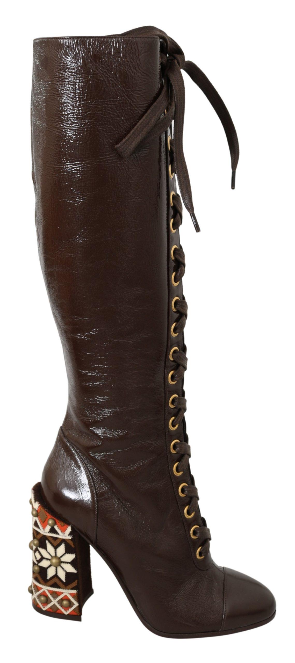Dolce & Gabbana Women's Leather Knee High Boot Brown LA7089 - EU39/US8.5