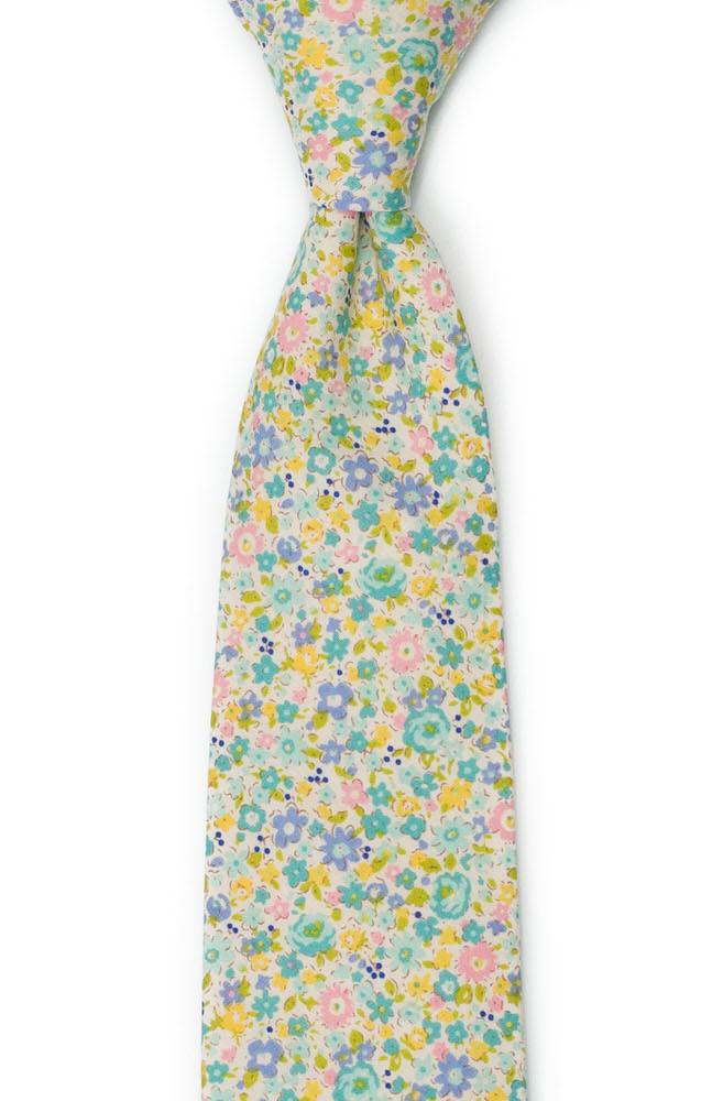 Bomull Slips, Bleke blomster i gult, stålblått, rosa & lilla, Turkis, Blomster