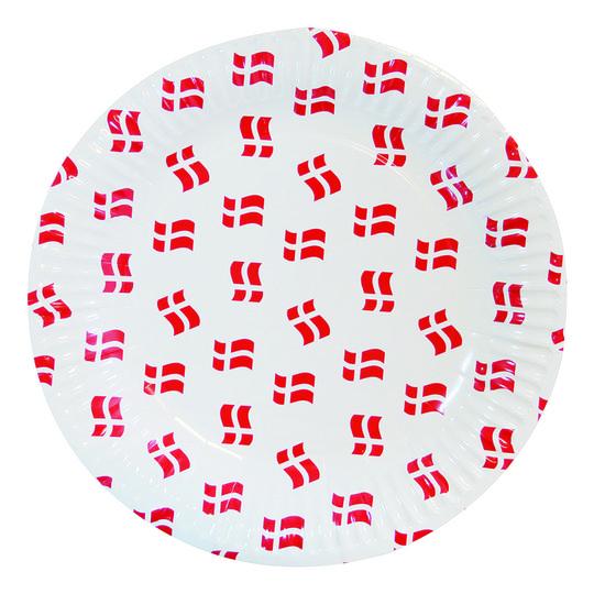 Papperstallrikar Dannebrogen Vit/Röd - 8-pack