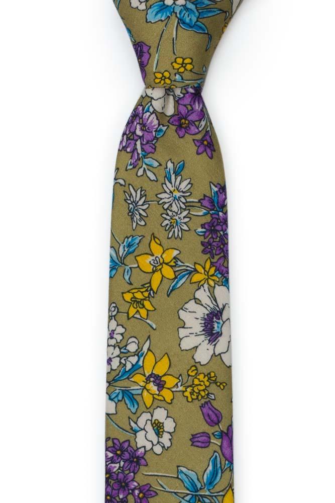 Bomull Smale Slips, Lilla, hvite, blå & gule blomster på oliven, Grønn, Blomster