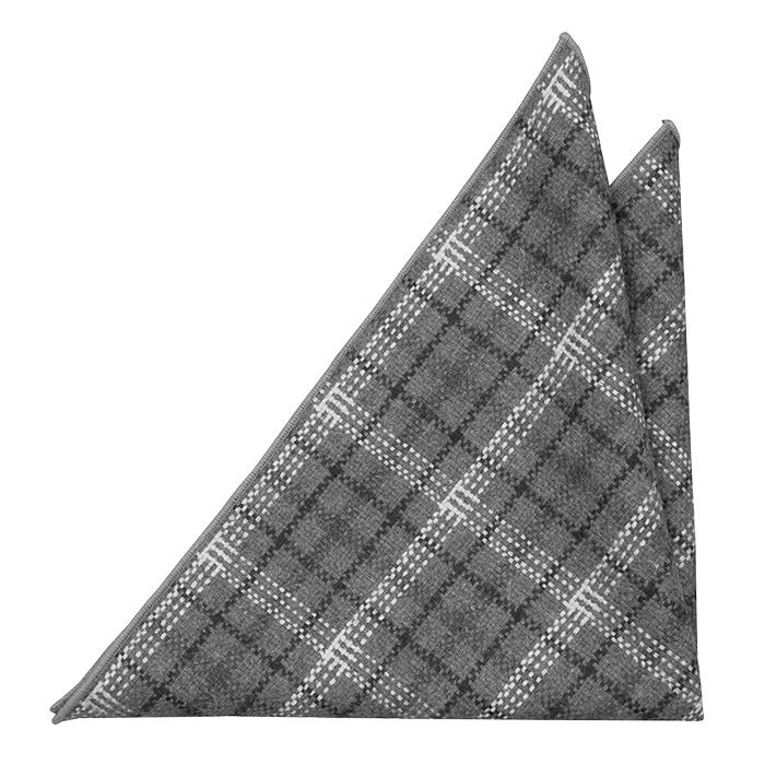 Ull Lommetørkler, Plaid in dark grey, black & white with grey edging