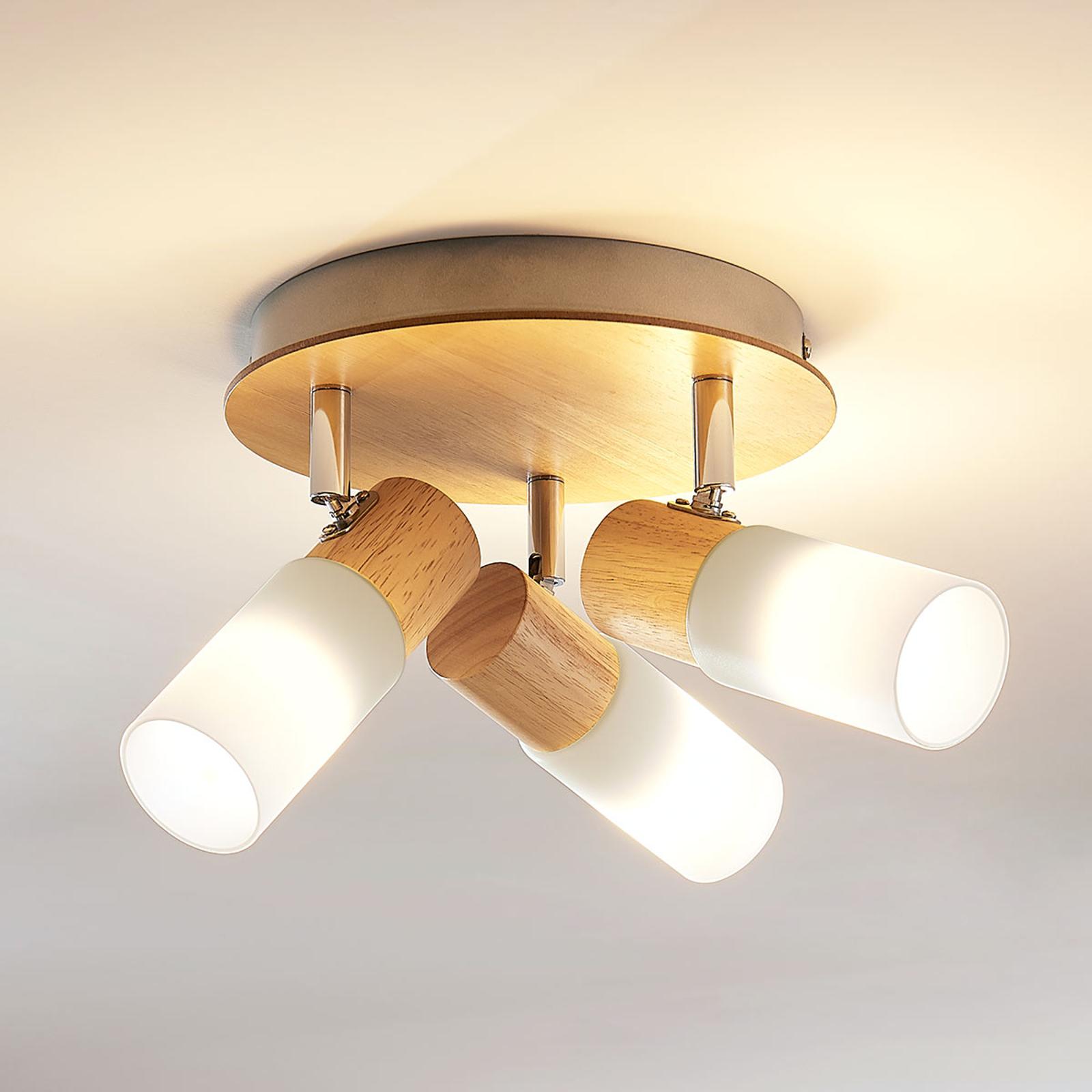 Puinen LED-kattokohdevalo Christoph, 3-lamppuinen